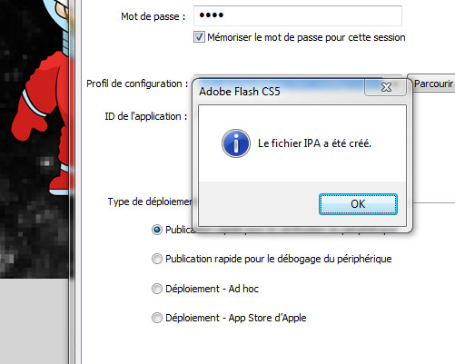 Flash CS5 - iPhone OS - création du fichier ipa