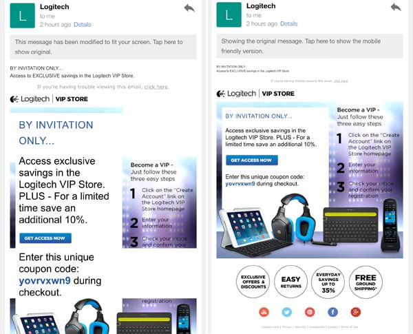 Newsletter Logitech Gmail iOS